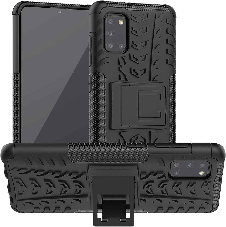 LFDZ Funda Samsung Galaxy A31,con Soporte Cáscara de Doble Capa de Cubierta Heavy Duty Silicona Caso Funda para Samsung Galaxy A31 Smartphone(Not fit Samsung Galaxy A30),Negro