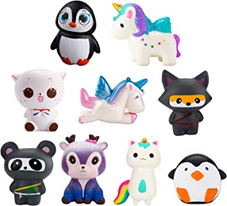 WATINC Random 4 Pcs Jumbo Animal Squishy Sweet Scented Vent Charms Kawaii Kid Toy , Lovely Stress Relief Toy, Animals Gift Fun Large