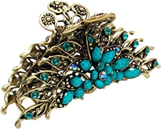 Fashion & Lifestyle Large Metal Alloy Hair Claw Jaw Clip for Women and Girls - Pretty Strong Clamp Non-Slip Barrette Hair Updo Grip Bath Accessories for Thick Hair, Blue