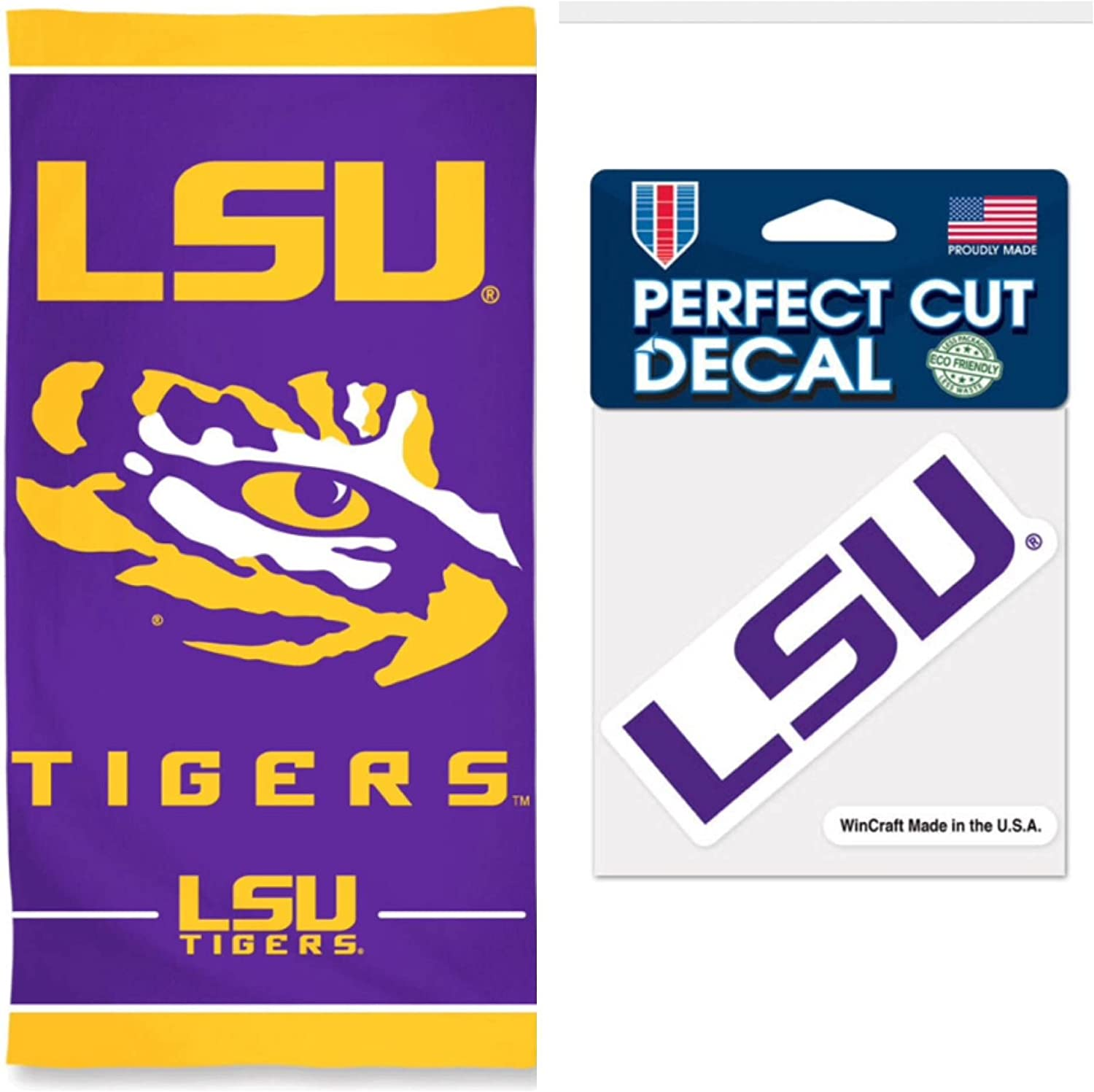 NCAA Lousiana State University LSU Tigers 30 x 60 inch Towel and 4 x 4 inch Perfect Cut Decal SET