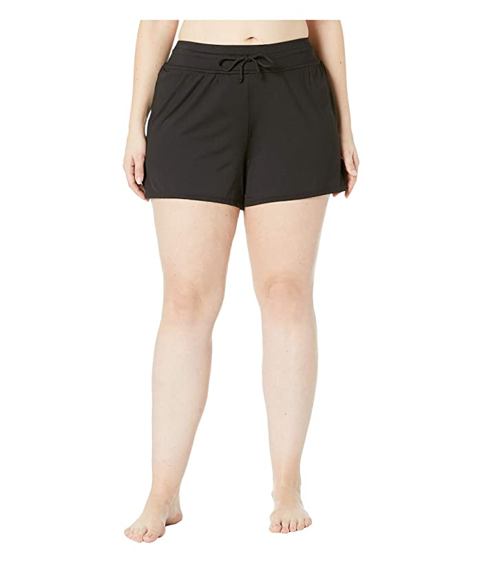 24th & Ocean Plus Size Solids Swim Shorts (Black) Women