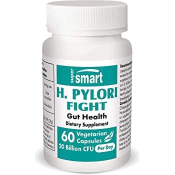 Supersmart - H. Pylori Fight 20 Billion CFU Per Serving - Contains Lactobacillus Reuteri (probiotic) - Relieves Acid Lifts & Stomach Aches | Non-GMO & Gluten Free - 60 Vegetarian Capsules