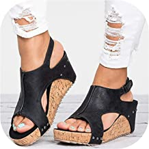 Vintage Retro Women Sandals Chunky High Heel Ladies Summer Open Toe Shoes Zapatos Mujer Woman Wedge Shoes 35-43