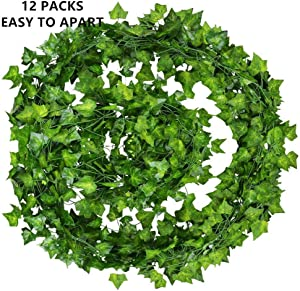 WOGREZ Artificial Ivy 12 Pack 84 Ft Fake Ivy Garland Vine Hanging Plant Christmas Wedding Garland Home Kitchen Garden Office Wedding Wall Decoration