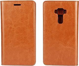 ASUS ZenFone3 ZE520KL ケース 手帳型 5.2インチ ZenFone3 ケース 【iCoverCase】 光沢加工 牛革 シンプル レトロ 携帯 カバー カードポケット スタンド機能 財布型 カバー【選べる4色】ライトブラウン