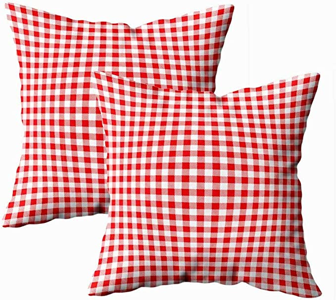 Teepel Christmas Throw Pillows For Couch 18x18 Set Of 2 Pillow Inserts Gingham Red Pattern Square Geometric Texture Plaid Holiday Pillows Decorative Throw Pillows Decorative Christmas Pillows Kitchen Dining