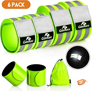 GoxRunx 6 Pcs Reflective Bands for Arm/Wrist/Ankle/Leg, High Visibility Reflective Running Gear Reflectors Armband for Women Men, Safety Reflective Straps Bracelets for Night Running, Cycling, Walking