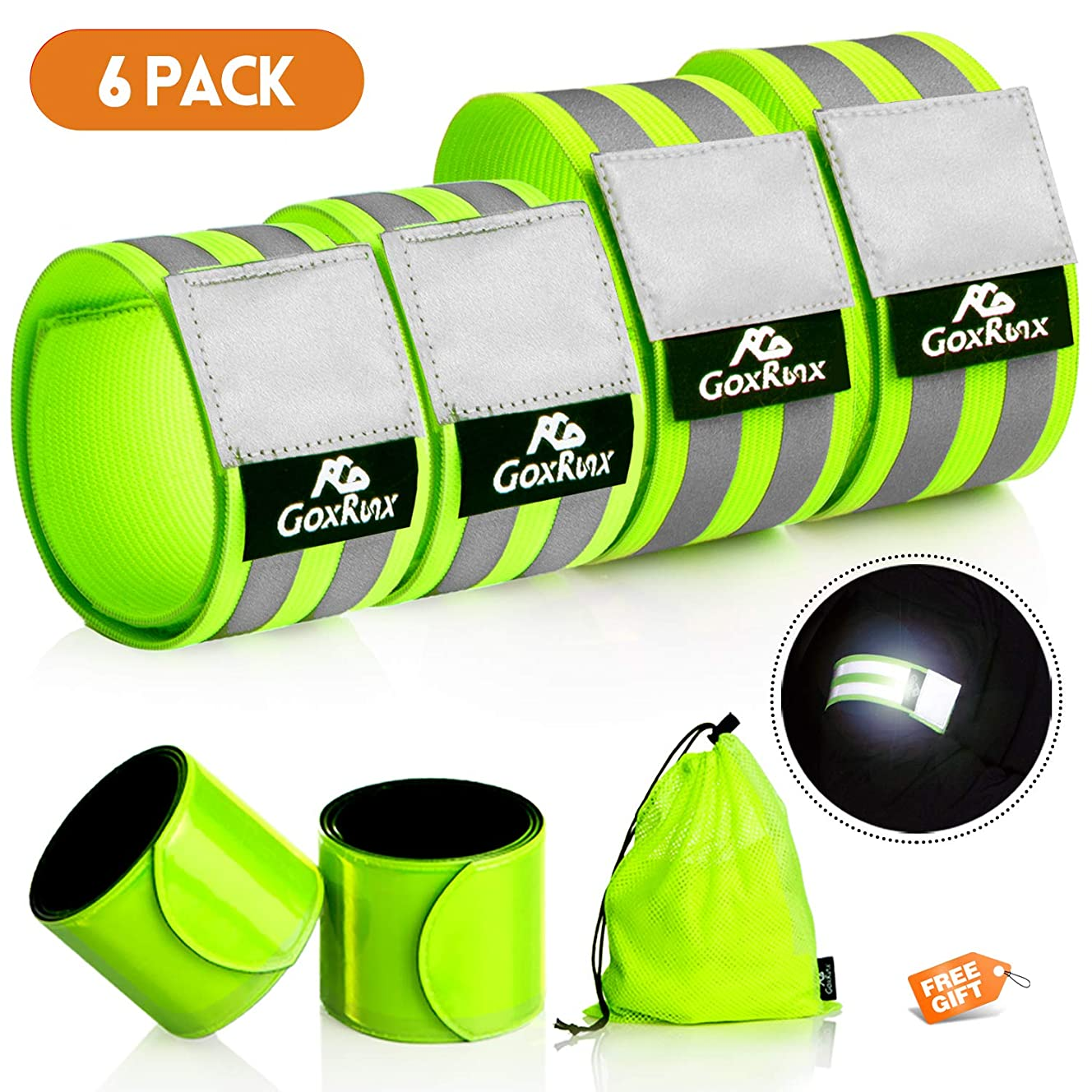 GoxRunx Reflective Bands Running Gear 6 Pack -Adjustable Reflective Armband Arm Wrist Ankle Leg Bands Reflectors -Reflective Tape Straps for Clothing Night Running Cycling Walking -Slap Bracelets