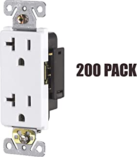 20 Amp, Tamper Resistant, 120 Volt, Child-Proof Outlets, Duplex Receptacle, Grounding, White, 200 Pack