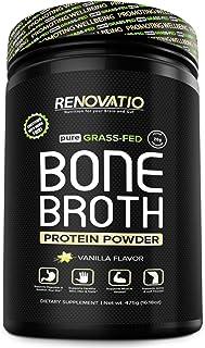 Bone Broth Protein Powder Vanilla - Monk Fruit Sweetened - Vital Collagen Protein - Keto Paleo Suitable. NON GMO Grass Fed...