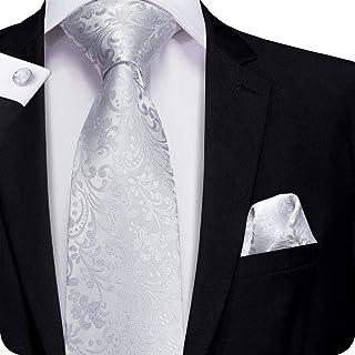 Hi-Tie Men Classic Black Grey Tie Pocket Square and Cufflinks Tie Set Gift Box