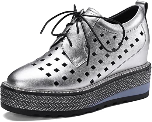 MUYII Frauen Leder Leder Leder Plateauschuhe Lace-up Hohl Schuhe Freizeitschuhe  weltweit versandkostenfrei