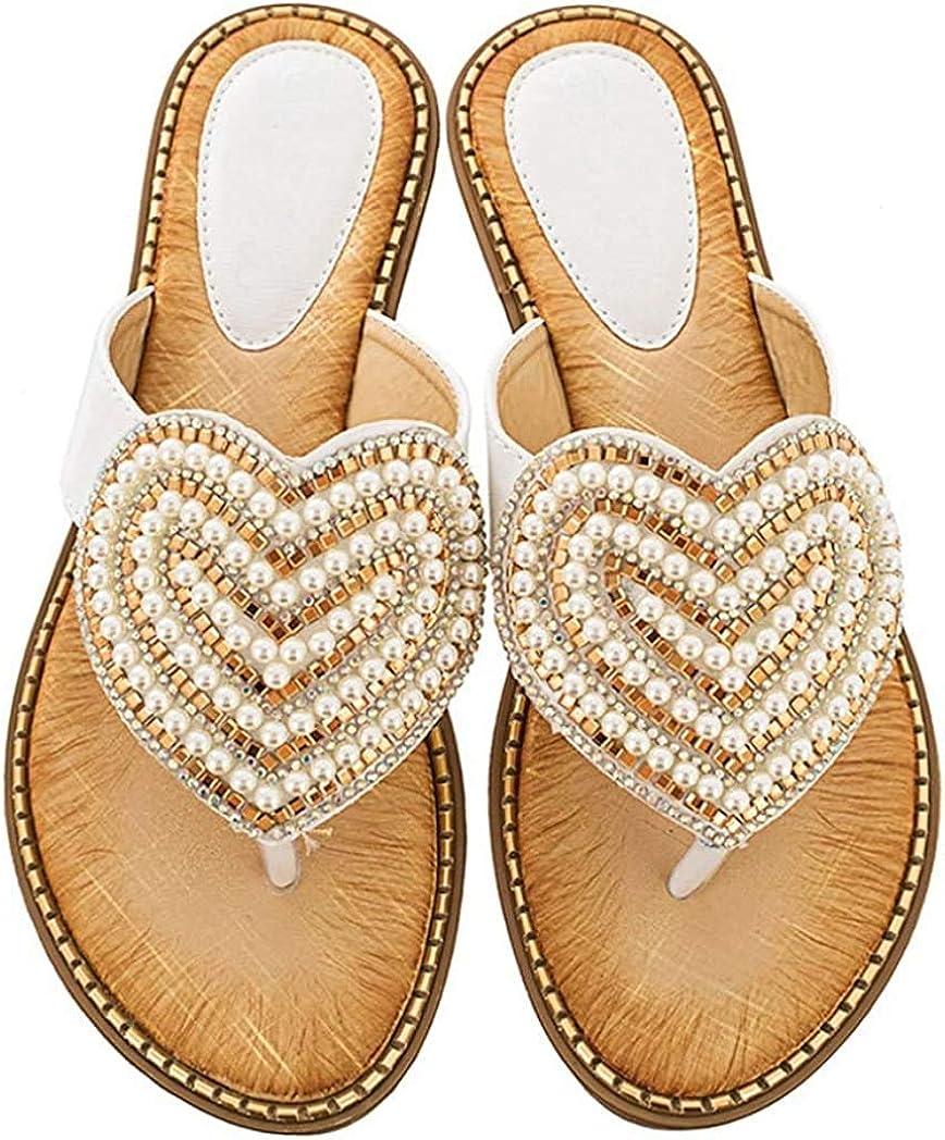 Women's Flip Flops Wedge Bohemian Beaded Sandals Platform Arch Support Soft Wide Width Flat Slide Sandal