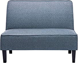 Cushioned Linen Armless Settee Loveseat Sofa Couch Home Casual Living Room Sleeper (Blue Pattern)