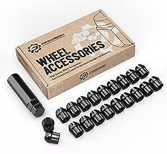 20pcs Black Spline Drive Lug Nuts - 12x1.5 Thread Size - 1.4 inch Length - Open End - Cone Acorn Taper Seat - Includes 1 Socket Key Tool - Fits Acura Chevy Honda Lexus Mazda Scion Toyota Hyundai Tuner
