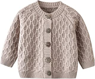 Auro Mesa Unisex-Baby Infant Girls Boys Lovable Cable Button up Sweater Cardigan Tops White Grey Autumn,Winter