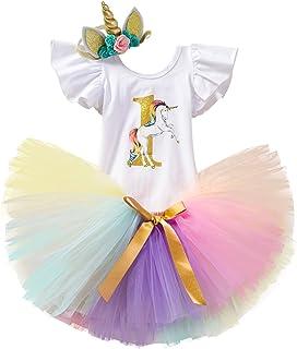 TTYAOVO bébé Fille 1er Anniversaire 3pcs Ensembles avec Bandeau Licorne et Barboteuse et Jupes