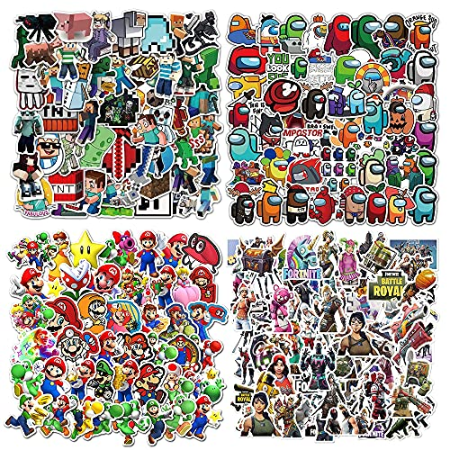 Lanseede 200 St. Set Adesivi per Giochi Mine-Craft Stickers, Super Mario, Among Us , Fort_Nite Sticker Pack (50 Pezzi per Stile) per Laptop, Auto, Moto, Bici, Bagagli da Skateboard