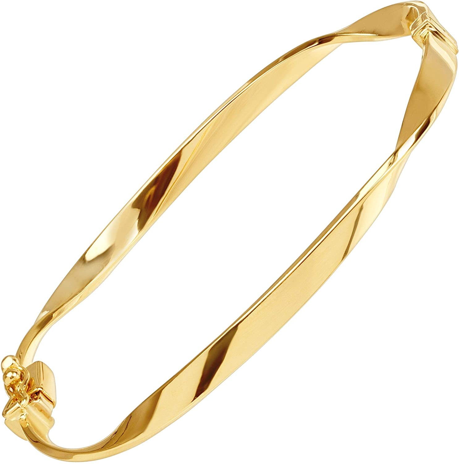 Welry Twisted Hinged Ribbon Bangle Bracelet in 14K Gold, 7