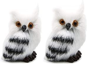 WSSROGY 2 Pack H2.75 White Black Owl Furry Christmas Tree Ornament Decoration Adornment Simulation Animal Xmas Decor Prop