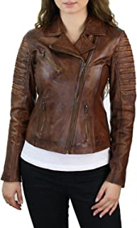 Women's Stylish Biker Tan Brown Slim Fit Genuine Real Leather Jacket Outerwear