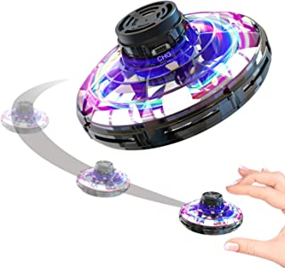 FREDI Inductive Aircraft FlyNova,Gyro Flying Toy Flying Saucers Mini Drone Helicopter with 360° Rotating and Shinning LED Lights,Black
