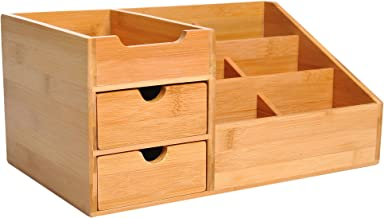 HOMCOM Bamboo Desktop Organiser Holder Multi-Function Storage Caddy Drawers Home Office Stationary Supplies 7 Storage Compartments and 2 Drawers Natural Wood