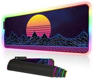 Imegny LED-Gaming-Mauspad, übergroß, leuchtende Matte, bunt, weiche Matte für Computer-Tastatur mit rutschfester Gummiunte...