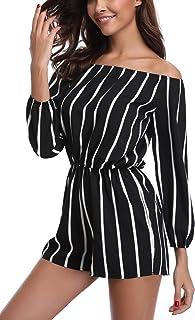 MISS MOLY Mujer Mono Elegante Cortos Verano Fuera del Hombro Casual Pantalones Ropa Vestir Cintura Alta Vendaje Ajustado Sexy Trajes