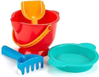 Hape Beach Basics Sand Toy Set Including Bucket Sifter, Rake, and Shovel Toys, Multicolor