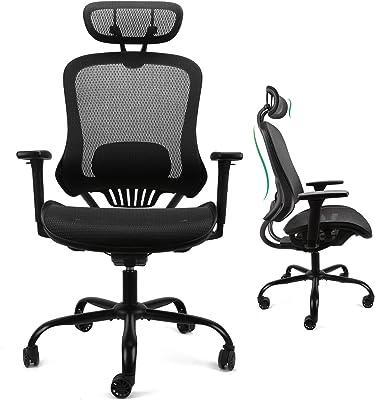Komene 椅子 オフィスチェア デスクチェア 人間工学 メッシュ 調節可能なヘッドレスト/背もたれ/3Dフリップアップアーム付き 首痛 腰痛サポート 強化ナイロン樹脂ベース 360°回転 事務椅子 デレワーク用 自宅で働く男性/女性向け 300IBS - BIFMA/SGS認証済み ブラック (XL-1062E)