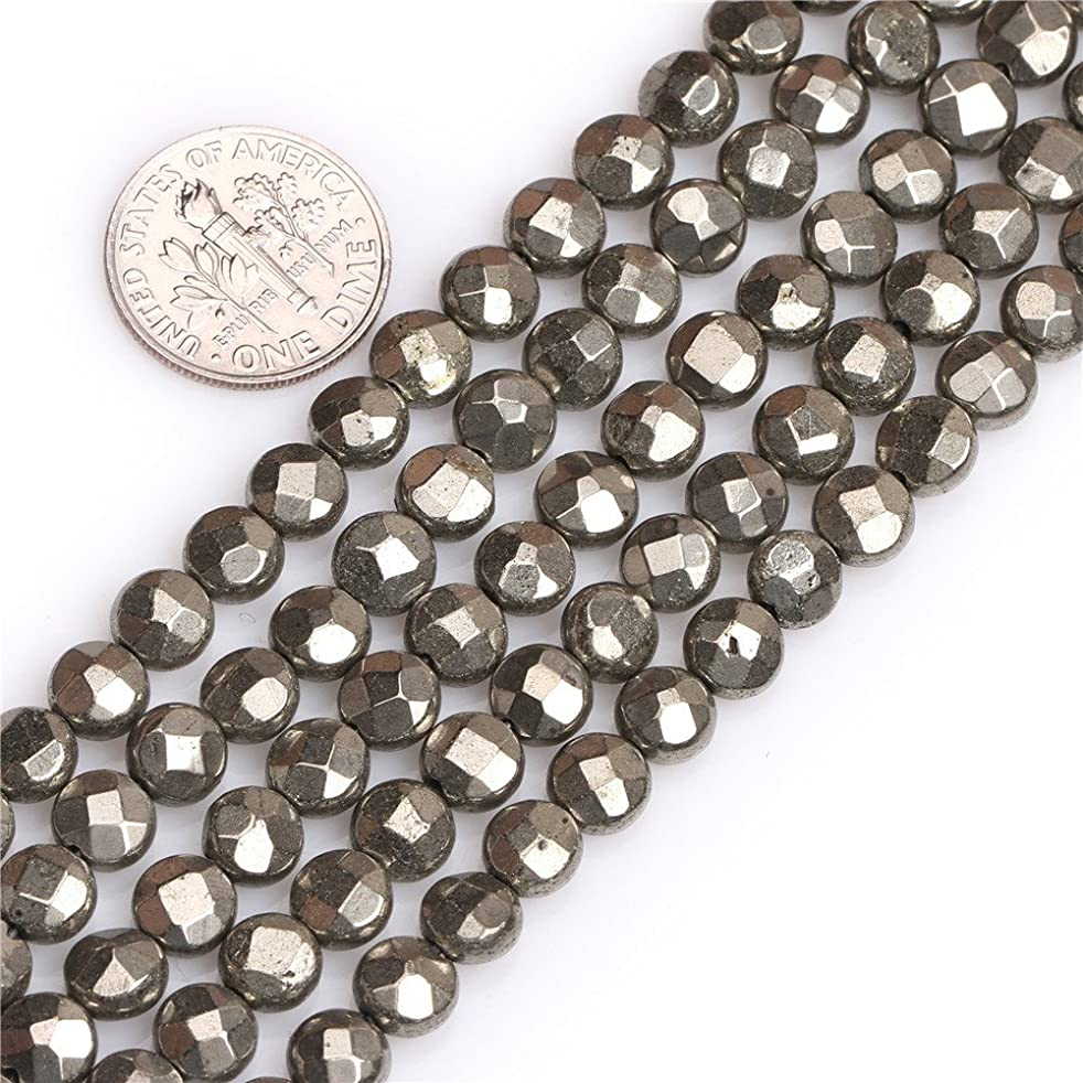 Pyrite Beads for Jewelry Making Natural Gemstone Semi Precious 6mm Silver Gray Faceted Coin 15