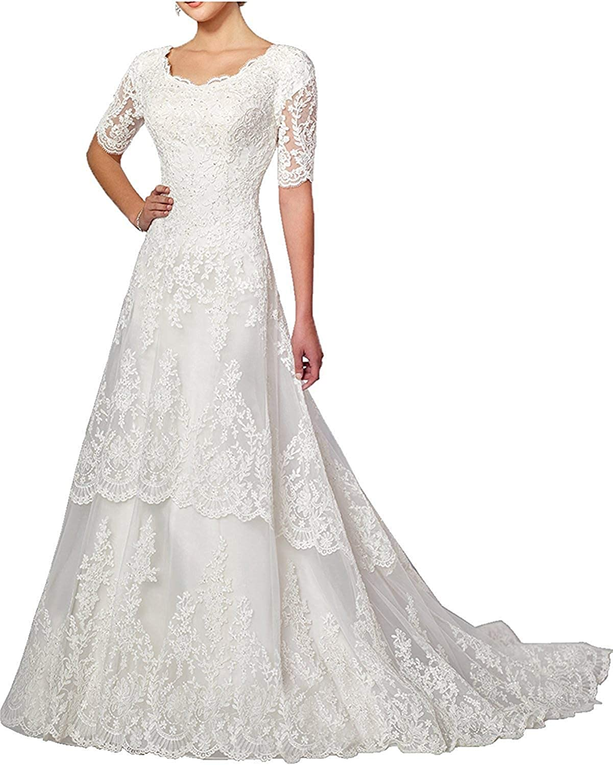 Wedding Dress Lace Bride Dresses with Sleeves Wedding Gown A line Bridal Gown with Train