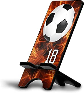 Cell Phone Stand Soccer Ball #SC010 Personalized Player Jersey Number On A Universal Docking Charging Station Stand Customized by TYD Designs Number 18