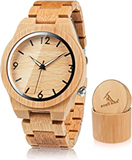D27 Men's Bamboo Wooden Watch Numeral Scale Large Face Quartz Watch Lightweight Casual Sports Watches with Luminous Night Silver Pointer Gift Box
