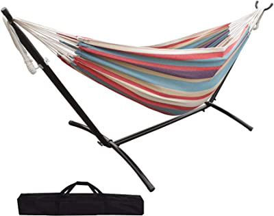 SUNLAX Brazilian Double Hammock with Stand - Two Person Bed for Backyard, Porch, Outdoor and Indoor Use - Soft Woven Cotton Fabric, Tropical
