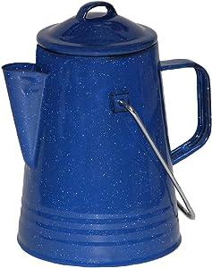Grip Blue Enamel Coffee Percolator for Camping