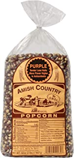 Amish Country Popcorn - Purple Kernels (2 Pound Bag) with Recipe Guide - Old Fashioned, Non GMO, Gluten Free, Microwaveable, Stovetop and Air Popper Friendly