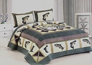 AHT Fisherman's Wharf 3 Piece King Size Quilt Bedding Set (Includes King Size Quilt and 2 Standard Size Shams) - Fishing Bass Trout Lake