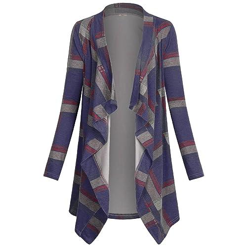 3db1b1ab7abf Miusey Women s Casual Plaid Print Sweater Long Sleeve Drape Open Front Knit  Cardigan