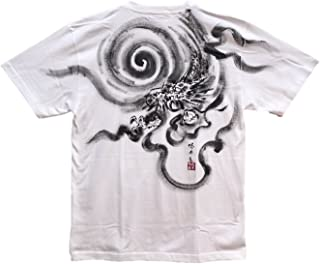 龍1 ドラゴン Tシャツ 白黒 半袖 和柄 日本画 手描き 墨絵 伯舟庵