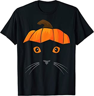 Cat Wearing Pumpkin Hat Face Halloween Costume Gift T-Shirt