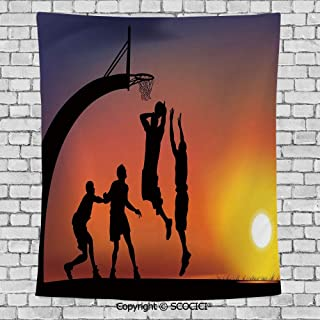 SCOCICI Popular Flexible Hot Tapestries Privacy Decoration,Teen Room Decor,Boys Playing Basketball at Sunset Horizon Sky Dramatic Scene Decorative,Dark Coral Black Yellow