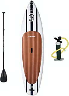 """TOWER Inflatable 10'4"""" Stand Up Paddle Board - (6 Inches Thick) - Universal SUP Wide Stance - Premium SUP Bundle (Pump & A..."""