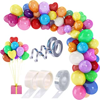 205 Pcs Balloon Garland Arch Kit 12''/11'' Colorful Rainbow Party Balloons for Birthday Christmas Party Decorations (Spherical & Heart-shaped) with Ribbon & Balloon Arch Tape