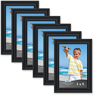 Icona Bay 4x6 Picture Frames (6 Pack, Black) Picture Frame Set, Wall Mount or Table Top, Set of 6 Inspirations Collection
