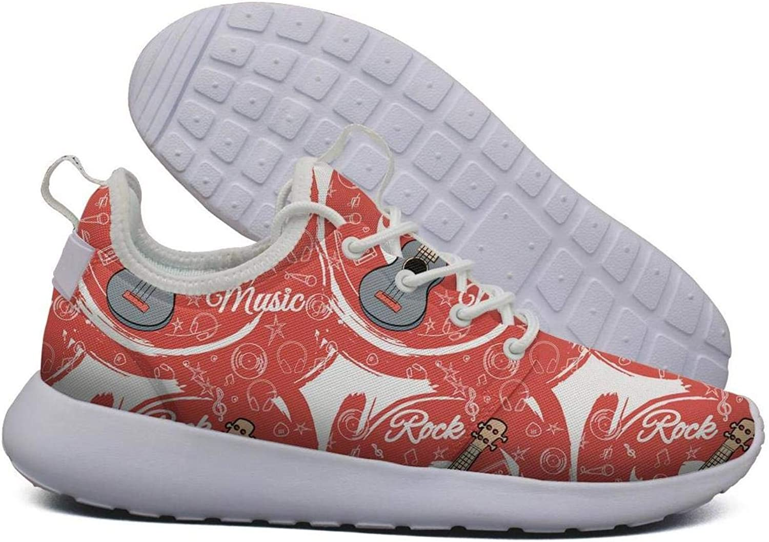 Hoohle Sports Womens Rock Music red Jazz Guitar Flex Mesh Roshe 2 Lightweight Cute Walking Jogging shoes