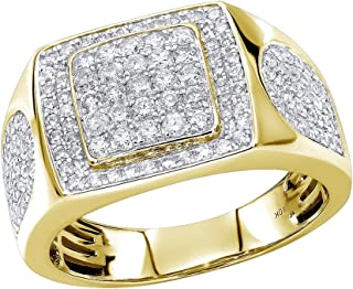 Luxurman Pinky & Wedding Band Affordable 10K Rose, White or Yellow Gold Mens Diamond Ring 1.5ctw