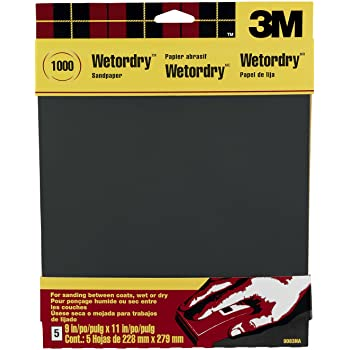 3M Wetordry Sandpaper, 1000-Grit, 9-Inch by 11-Inch, 5 Sheets - 9083NA-20,Black