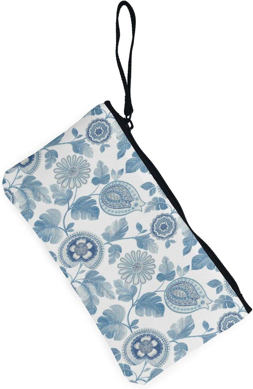 AORRUAM Paisley Leaf Wallpaper Canvas Coin Purse,Canvas Zipper Pencil Cases,Canvas Change Purse Pouch Mini Wallet Coin Bag